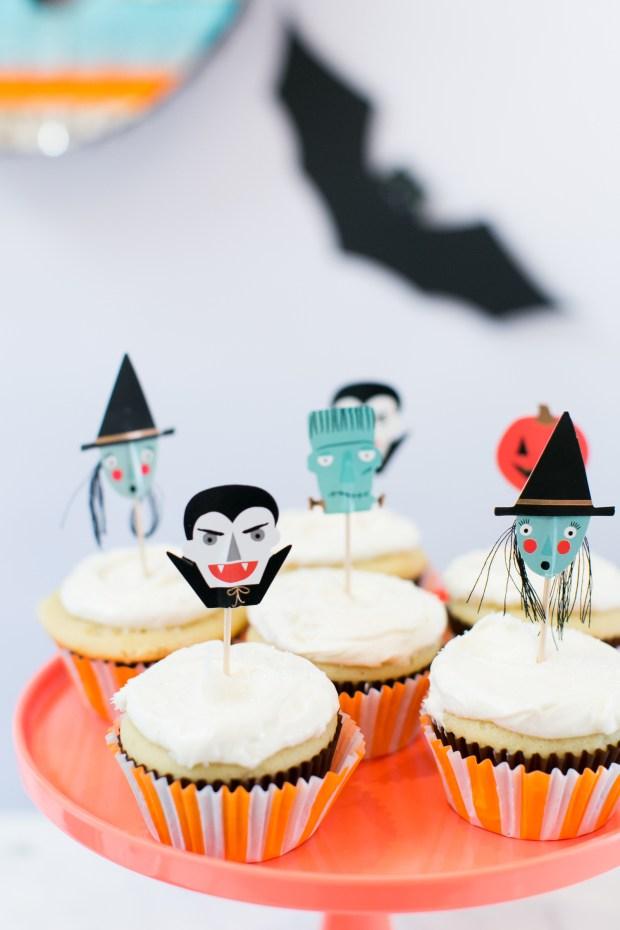 Vampire, witch, Frankenstein Halloween cupcake food picks from Meri Meri