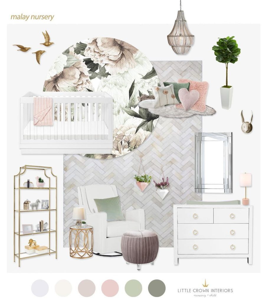 Floral Nursery Design Board by Little Crown Interiors