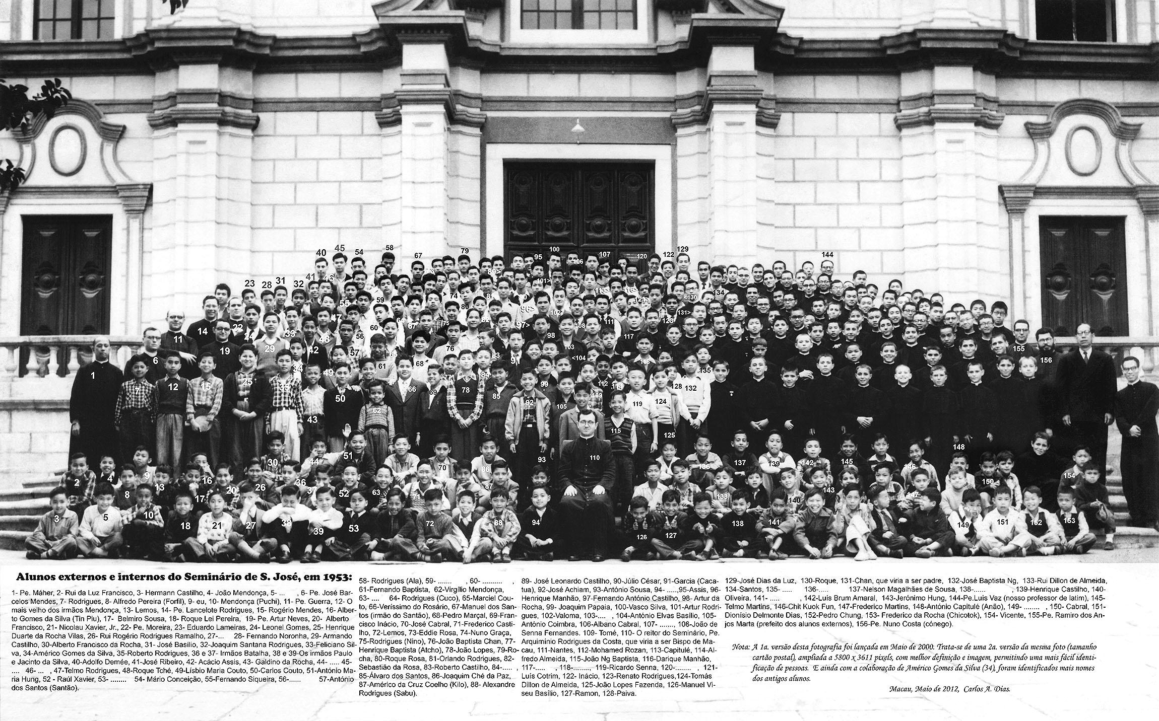 Alunos externos e internos do Seminário de São José, em 1953