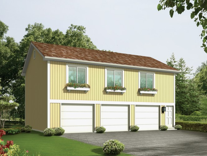 Three Car Garage Apartment Has A Simple Design With Windows Above Doors All
