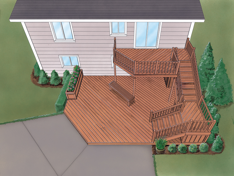 Grafton Split-Level Deck Plan 064D-3008   House Plans and More on Patio Planner id=49164