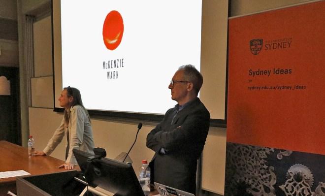 CISS Director James Der Derian moderates as the audience asks questions of McKenzie Wark. (Photo: Gilbert Bel-Bachir)