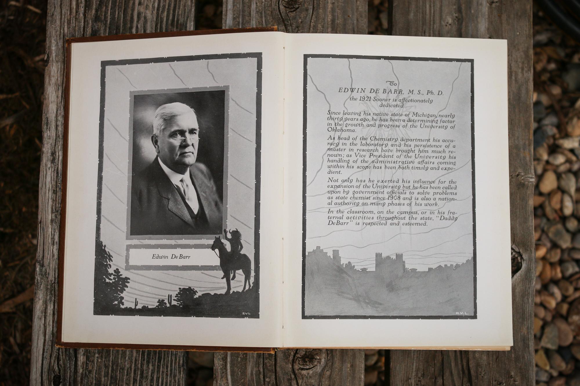 1921 Sooner yearbook dedication to Edwin DeBarr