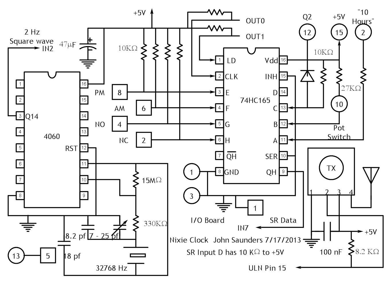 Nixie Clock Circuit Diagrams