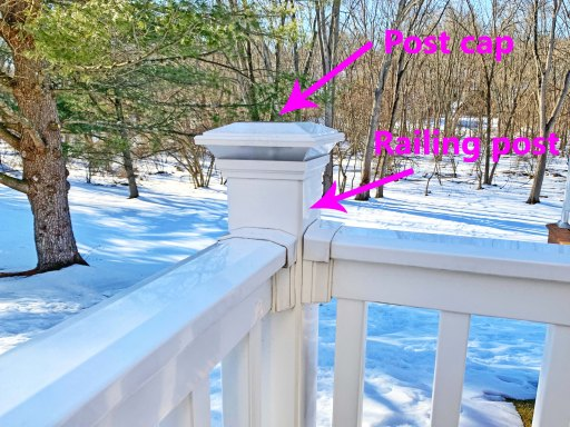 White deck railing with post cap and railing post highlighted in purple