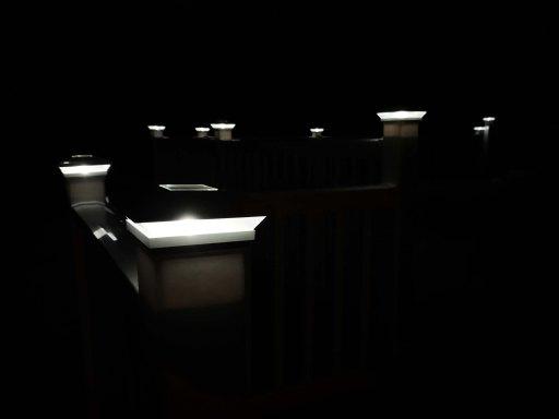 Solar post gaps glowing at night