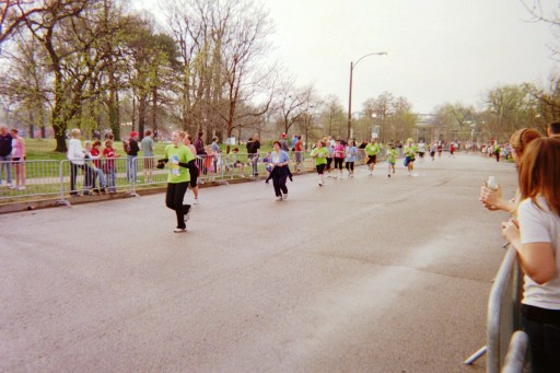 Runners on a road during a marathon
