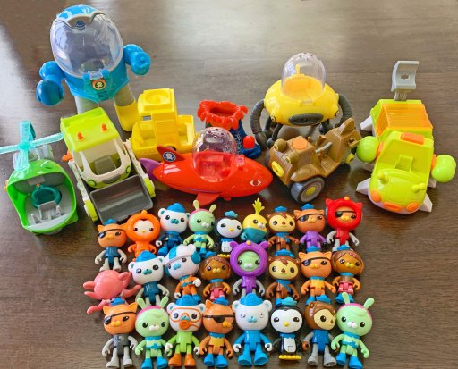 Toys lines up on a table
