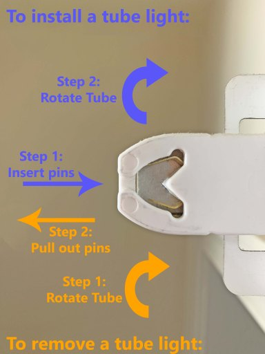 Diagram showing how to install and remove a linear, bi-pin tube light