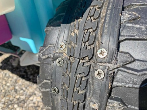 Bicycle tire tread fully screwed into a Power Wheels tire