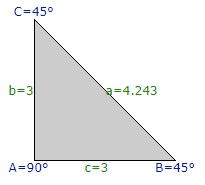 Triangle used to calculate diagonal knee brace lengths