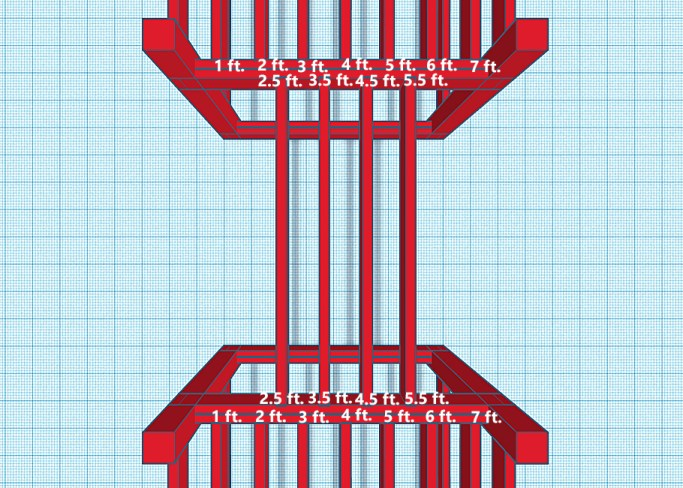 Diagram showing joist spacing for the playground bridge
