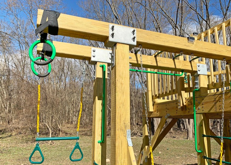 Simpson Strong-Tie CC66HDG brackets used to cantilever the monkey bars