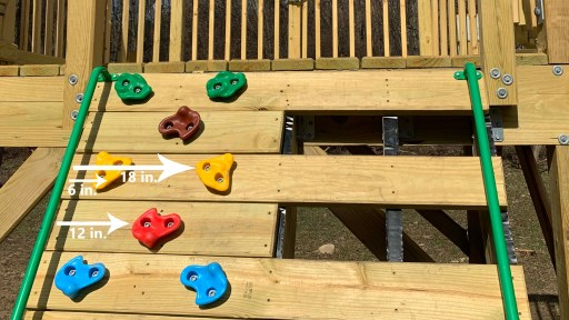 Spacing used for the rock climbing wall holds