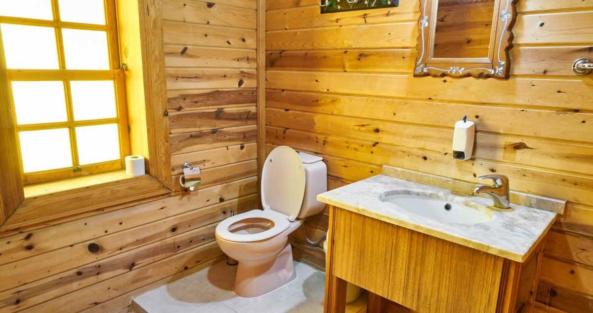 a rustic comfort room