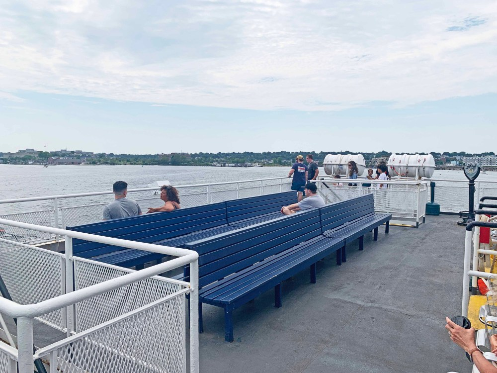 Blue seating on a ferry boat