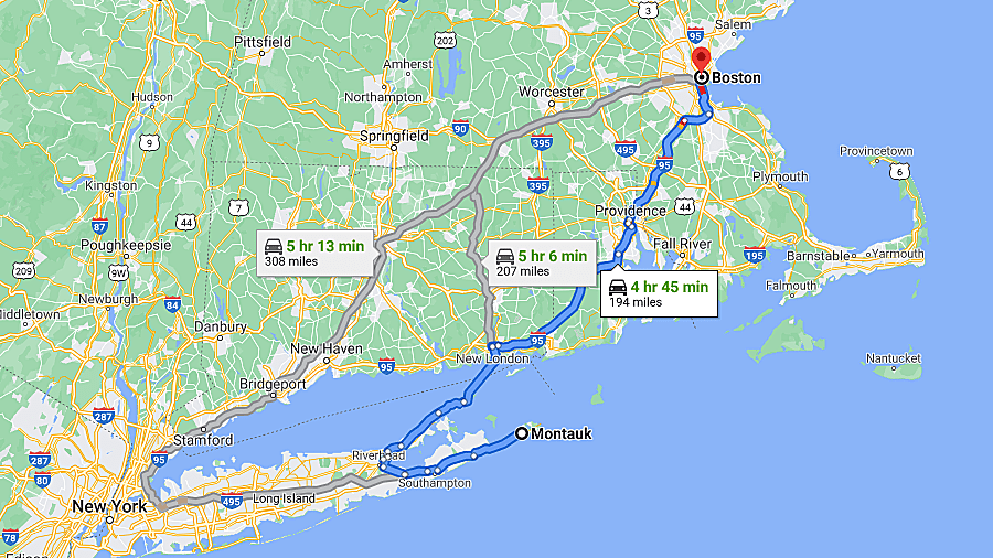 Google Maps travel routes with mileage and estimated travel time