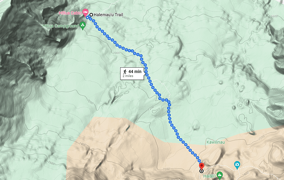 topography and elevation map of the Halemau'u Trail from the Holua Cabin and Holua Campground to Halali'i