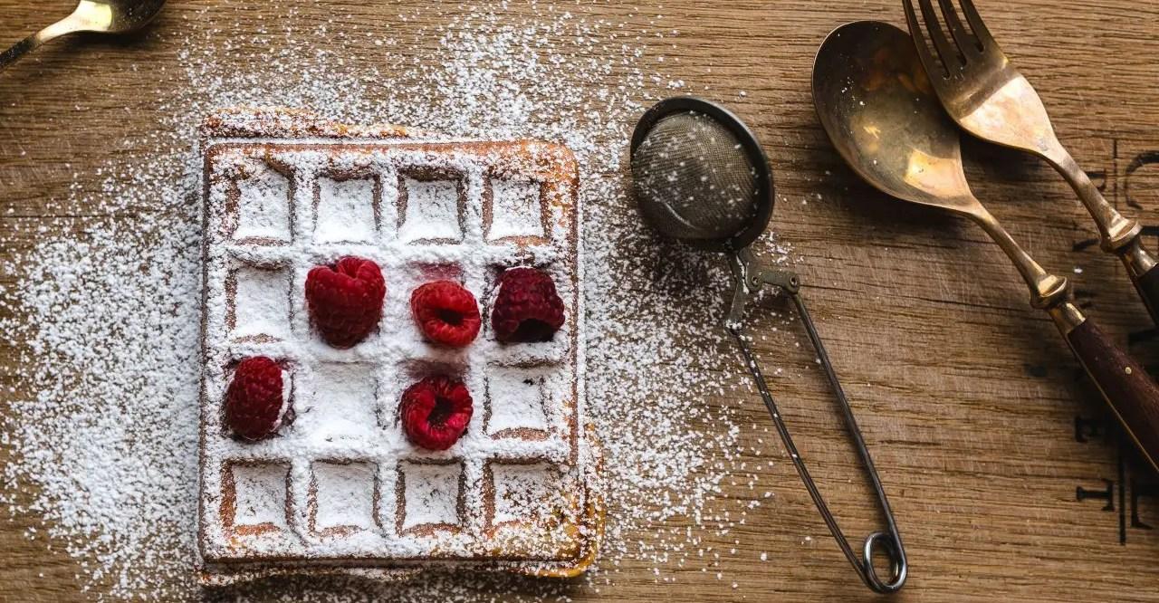 Waffles with fresh raspberries