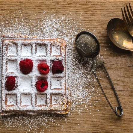 Waffles with fresh raspberries