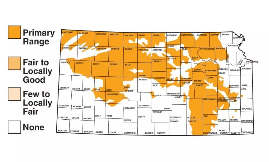A map showing the distribution of prairie chicken populations in Kansas.