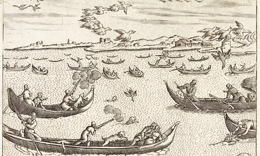 Giacomo Franco's illustration of hunting in the Venice lagoon