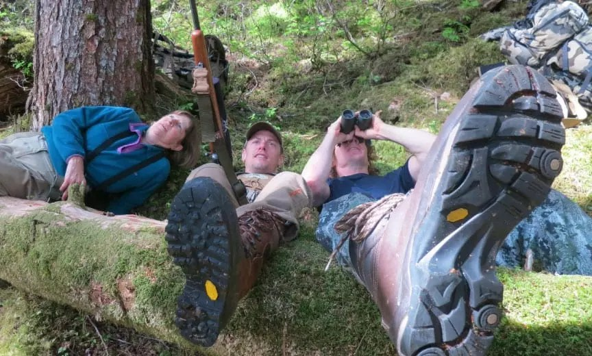 Steven Rinella of Meat Eater durning a Sooty Grouse hunt.