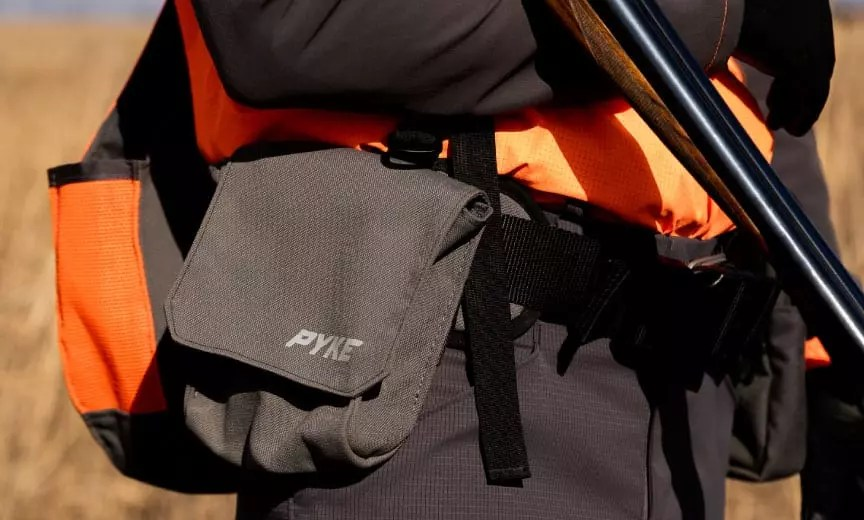 Close up of the Pyke Gear strap vest for bird hunters.