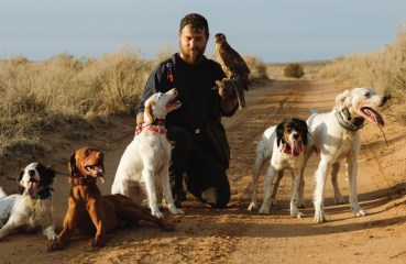 A falconer with his bird dogs and Goshawk