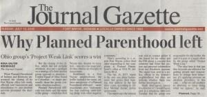 The Journal Gazette headline story about #ProjectWeakLink and Planned Parenthood
