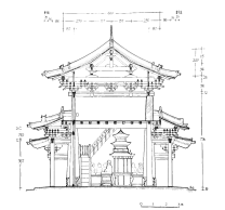 East-west sectional view of the Thousand Buddha Pavilion (Photo by Di Luo)