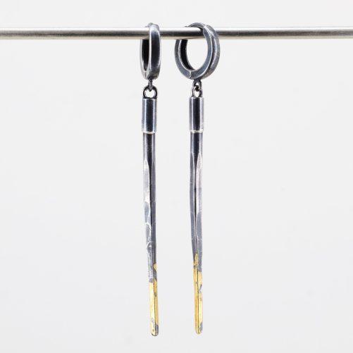 Black Dagger Earrings with 24K Gold