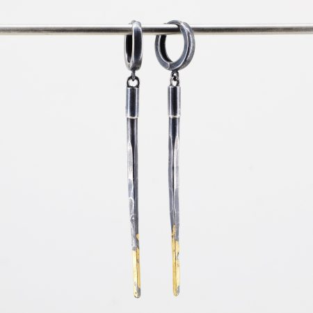 Black Dagger Earrings with 24K Gold