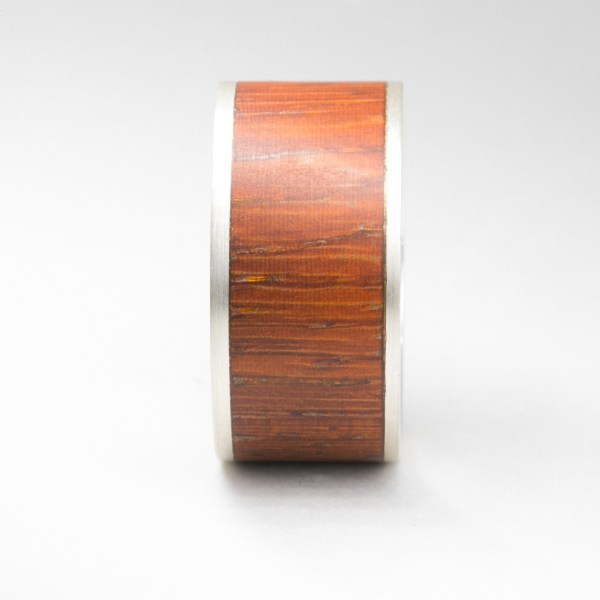 Silver with Red Wood Inlay ring