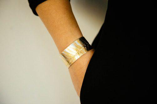 Sterling cuff bracelet with fern