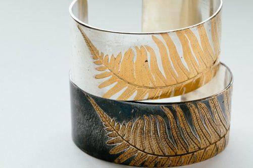 Gold fern on sterling cuff bracelet