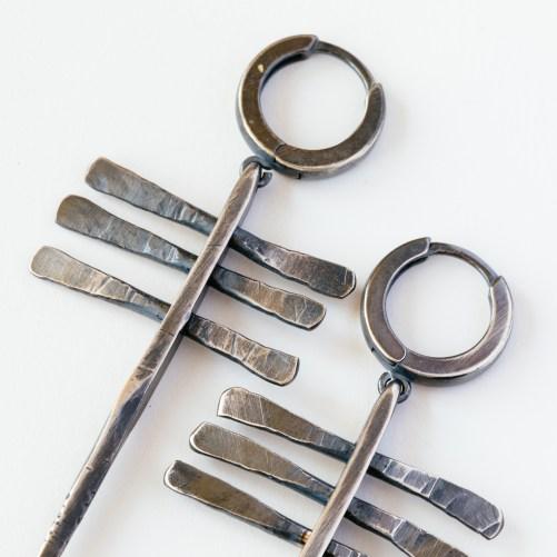 Solid silver brutalist earrings