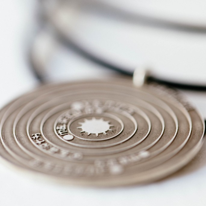 Solar system necklace in sterling silver