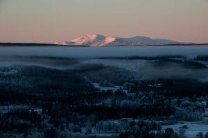 Vybild över Åreskutan i vinterskrud