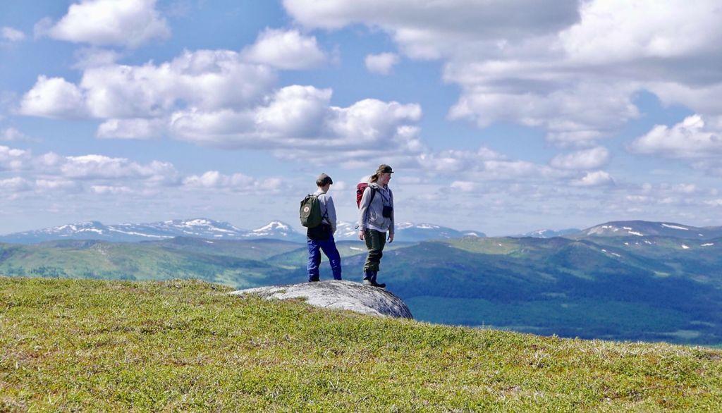 Två människor vandrar på ett fjäll