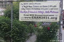 Jardin communautaire menacé par la construction de grattes ciel à Greenwich Village
