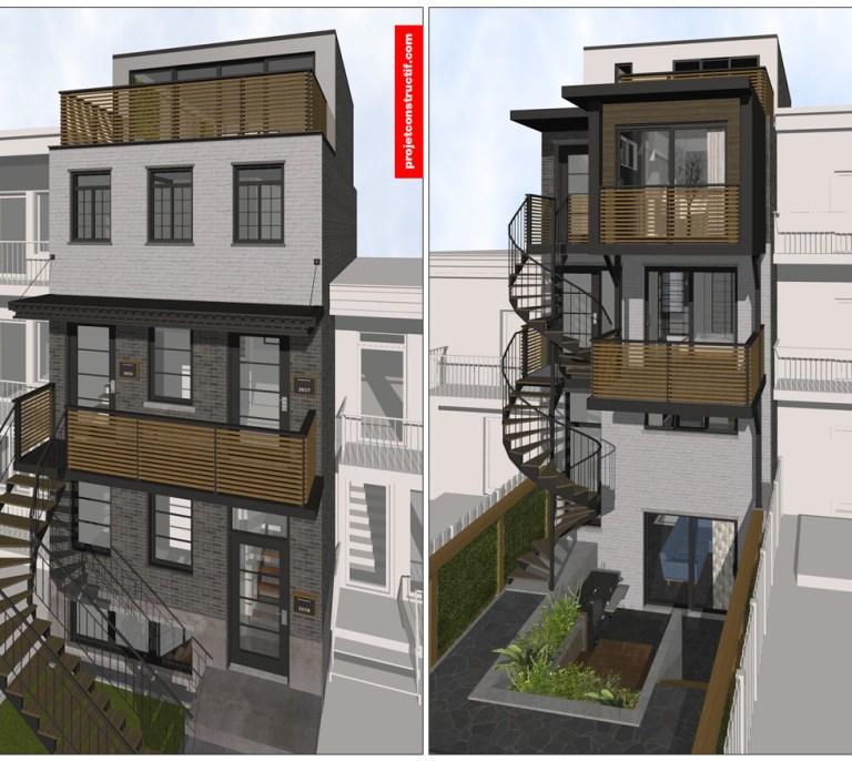 Design intérieur Design bâtiment façade et arrière | Building design front and back