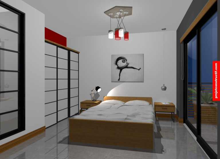 Chambre à coucher ambiance nuit 3D. 3D night atmosphere bedroom oriental inspiration.