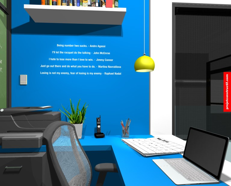 Design intérieur Bureaux Illustration of back space showing blue wall design. Sticky typography famous quotes.
