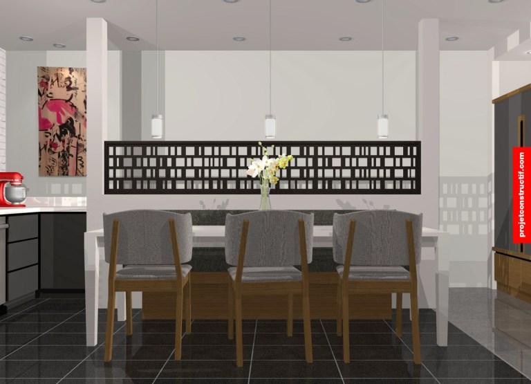 Design 3D ensemble salle à manger intégré dans un espace cuisine. 3D rendering design proposition of dining room set integrated within kitchen environment.