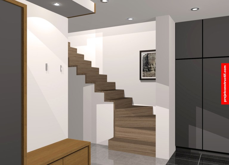 Illustration 3D escaliers en bois vers mezzanine. 3D design illustration of wooden stairs leading to mezzanine