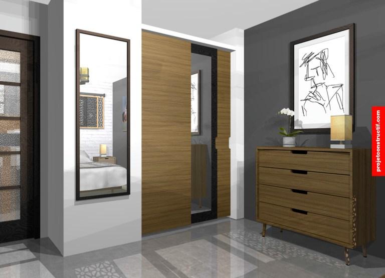 Design mobilier et garde-robes chambre adultes. 3D interior design storage solution for parent's bedroom,