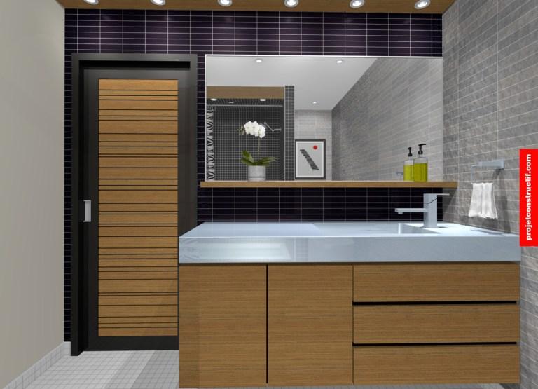 Illustration 3D salle de bain du comptoir, porte et miroir. 3D rendering of washroom showing door, mirror and counter.