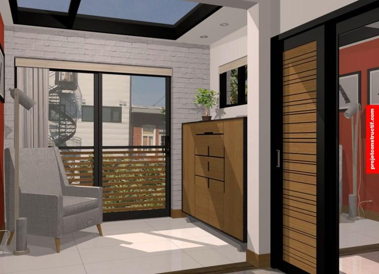 Rendu 3D de l'espace arrière de la chambre des maîtres. Illuminated bedroom backspace illustrated in 3D.