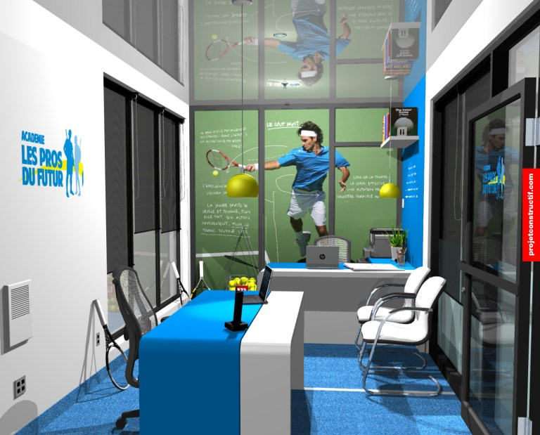 Design intérieur Bureaux Illustration 3D design intérieur bureaux administratifs école sports-études. Sports-studys administration office interior design illustrated in 3D.